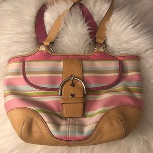 Coach Hampton Striped Leather tote bag Light pink